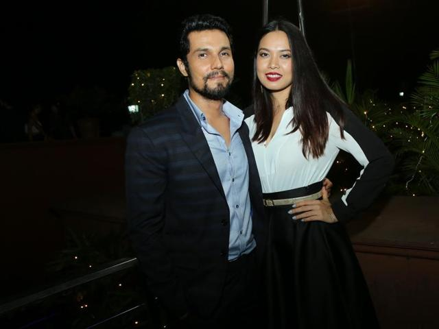 Actor Randeep Hooda with model and actor Lin Kaishram at a party  in Delhi.