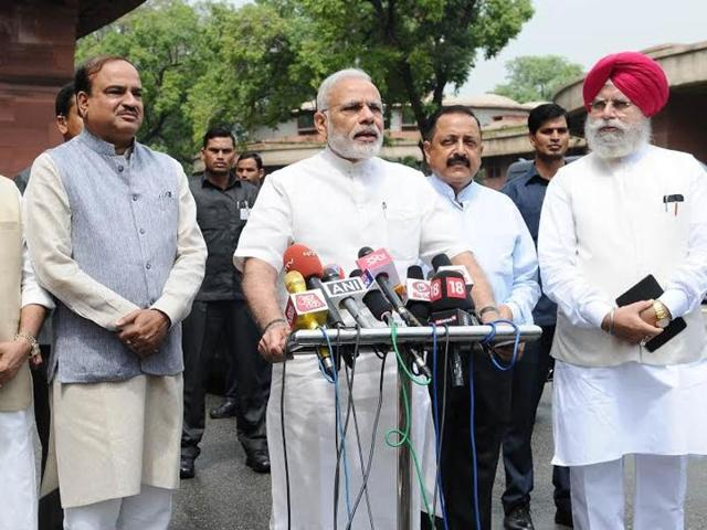 Prime Minister NarendraModi addresses the media ahead of the monsoon session.