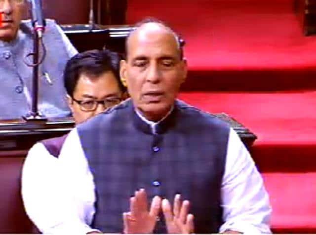 Home minister Rajnath Singh speaks in Rajya Sabha.