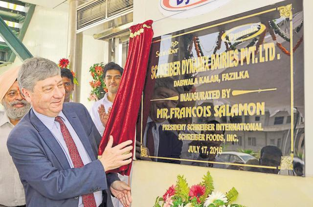 Francois Salamon, president of Schreiber International, inaugurating an aseptic beverage manufacturing unit in Fazilka on Sunday.