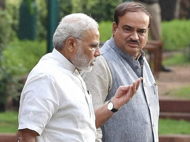 Prime Minster Narendra Modi with parliamentary affairs minister Ananth Kumar ahead of a BJP parliamentary party executive meeting on Monday.