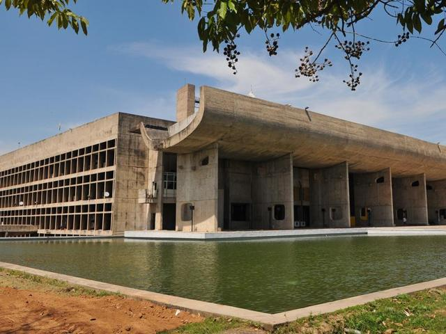 The Capitol Complex, the prime manifestation of Chandigarh's architecture, is spread over more than 100 acres in Sector 1.(HT Photo)