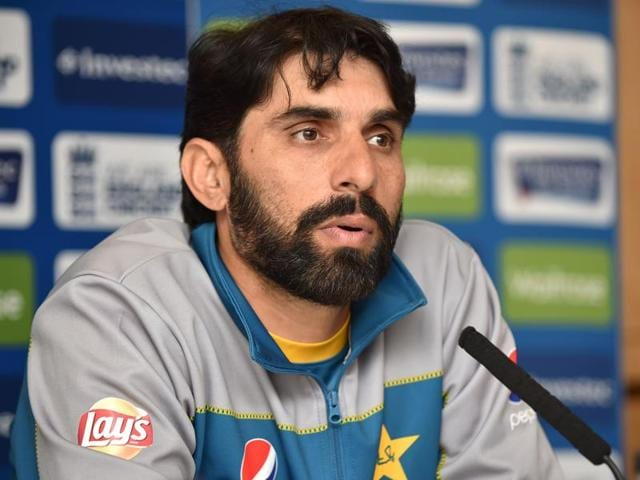 Pakistan's captain Misbah-ul-Haq speaks to members of the media at a press conference.