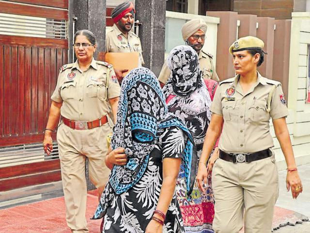 Accused Dr Ramandeep Kaur and Seema being taken to the residence of duty magistrate in Jalandhar on Sunday.