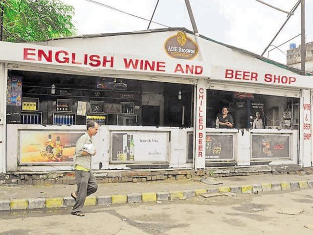 A liquor shop near the bus stand in Jalandhar.