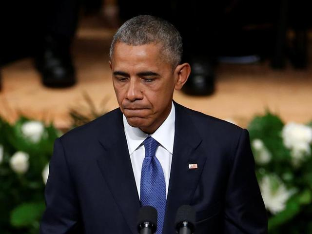 US President Barack Obama speaks during a memorial service following the multiple police shootings in Dallas.