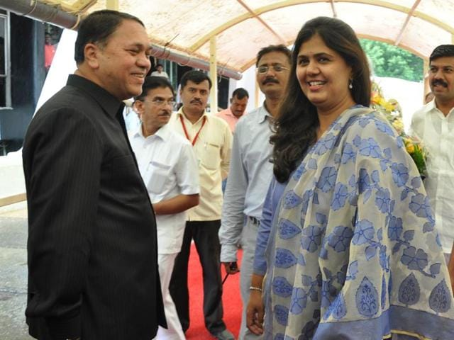 Rural development minister Pankaja Munde with former Speaker Dilip Walse-Patil on the first day of the monsoon session.