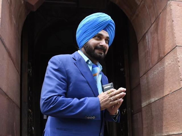 Former cricketer and Punjab politician Navjot Singh at Parliament in April 2016.