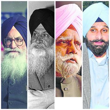 (left to right) Surjit Singh Barnala, Jagdev Singh Talwandi, Buta Singh and Bikram Singh Majithia.
