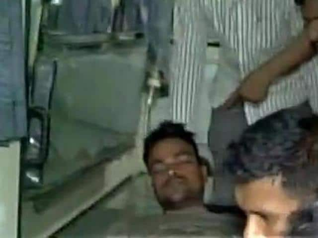 One of the injured commandos being brought to AN Memorial Magadh Medical College. (ANI Photo)