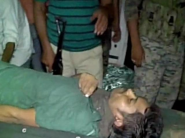 One of the injured commandos being brought to AN Memorial Magadh Medical College.