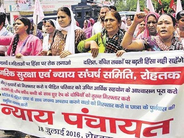 Dalit bodies staging a protest march to gherao Rohtak MLA Manish Grover on Monday.