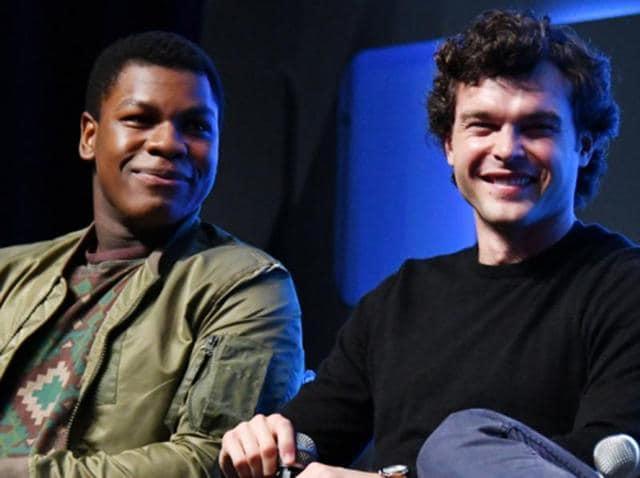 John Boyega and Alden Ehrenreich at the Star Wars Celebration event in London.