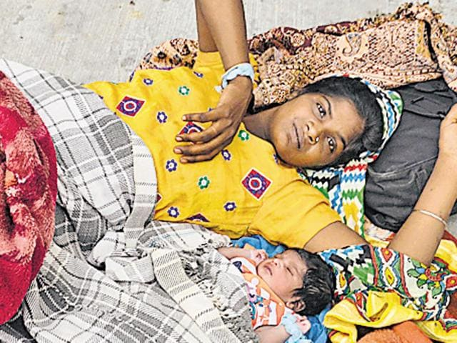 Sandeep Kaur along with her newborn outside Bebe Nanki Mother and Child Care Centre in Amritsar.