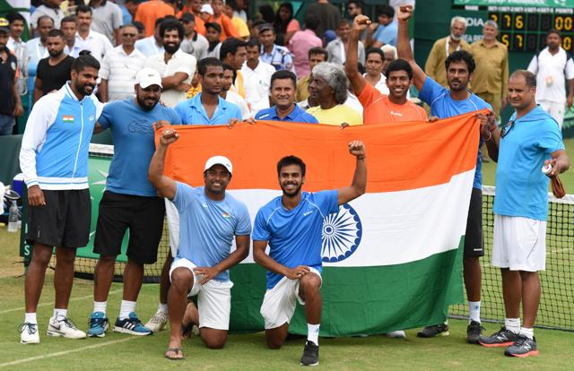 Indian Davis Cup team celebrated the win over South Korea by dancing on the grass courts in Chandigarh last week.