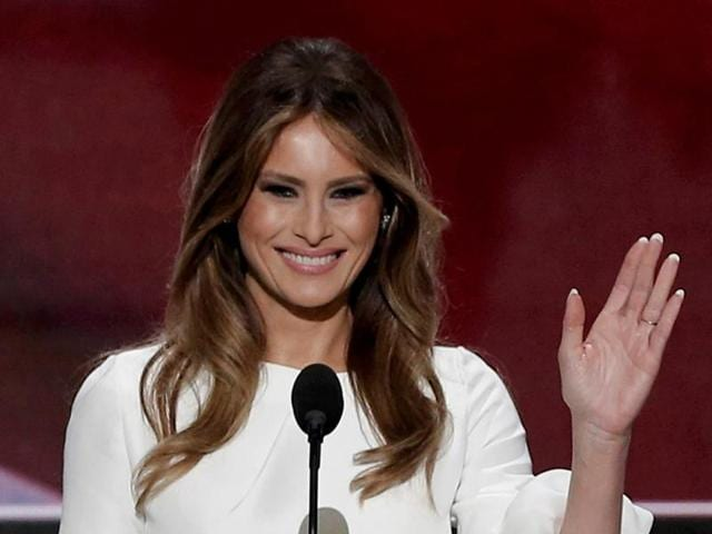 Melania Trump, wife of Republican US presidential candidate Donald Trump, arrives to speak at the Republican National Convention in Cleveland, Ohio.