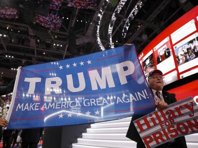 Delegates crowd the convention floor on the first day of the Republican National Convention at the Quicken Loans Arena in Cleveland, Ohio on Monday.