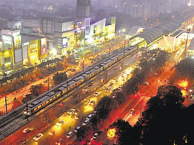 A view of metro at MG road in Gurgaon.