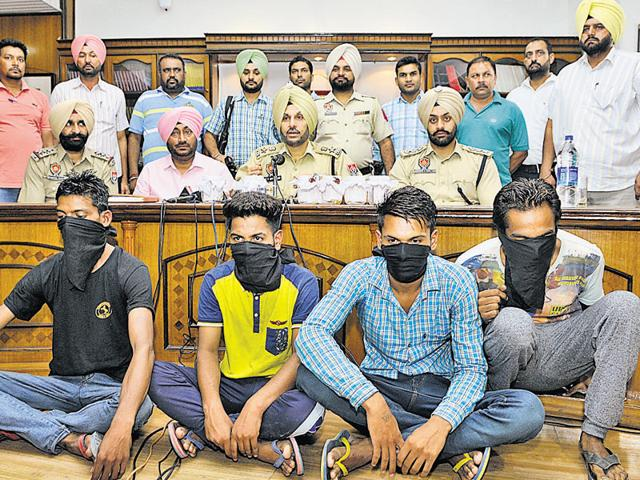 The accused in SAS Nagar police custody on Monday.