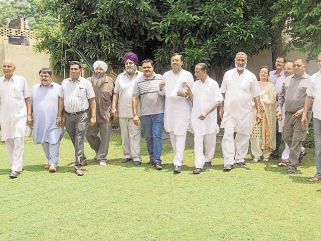 BJP councillors at mayor Sunil Jyoti's home to submit their resignation in Jalandhar on Monday.