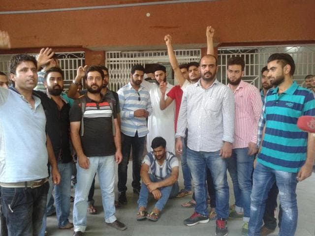 Kashmiri students protest outside the V-C's office at Barkatullah University in Bhopal on Monday.
