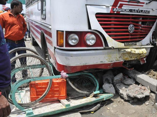 Cart crushed under the tyres of the bus at Jamalpur Chowk in Ludhiana on Tuesday.