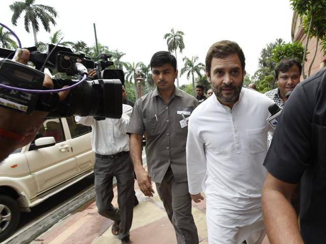 Congress vice-president Rahul Gandhi arrives at Parliament house on the opening day of the monsoon session in New Delhi on Monday.