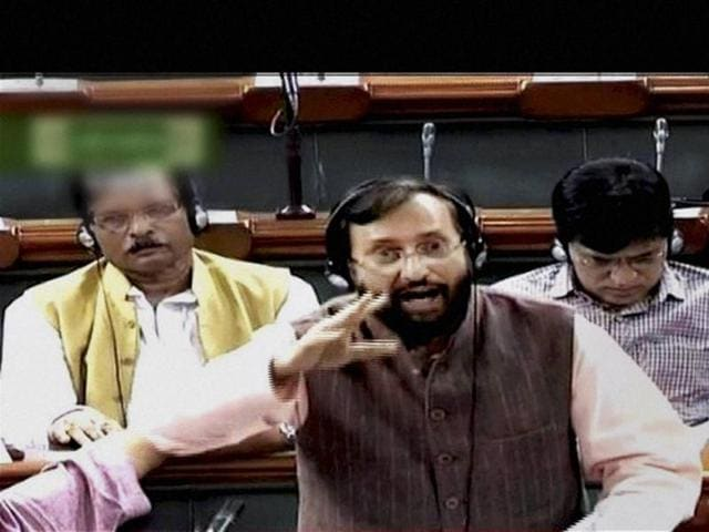 HRD minister Prakash Javadekar speaks in the Lok Sabha in New Delhi on Tuesday.