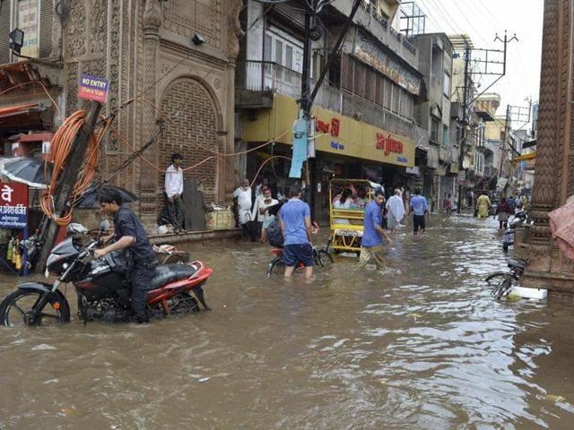 A flooded street after heavy rains in Mathura, Uttar Pradesh.