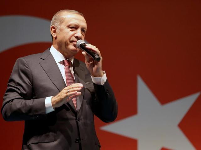 Security forces loyal to Turkish President Recep Tayyip Erdogan guard the general staff headquarters in Ankara, Turkey on Sunday.