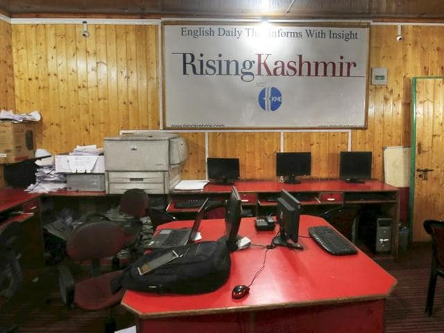 A deserted office of Rising Kashmir, a leading English daily of the Valley, on Monday.