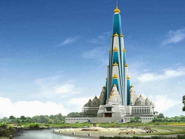An artist's rendition of the Chandrodaya Vrindavan temple.