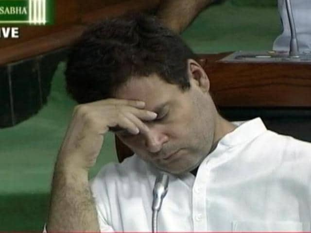 Television channels showed Gandhi resting his forehead on his palm and his eyes shut, while his fellow MPs protested during a statement being made by home minister Rajnath Singh in Parliament.
