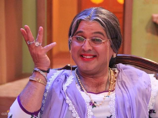 Actor Ali Agar as Dadi on Comedy Nights With Kapil.