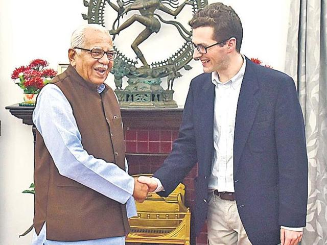 William Haig, great grandson of United Province's governor Sir Harry Graham Haig met Governor Ram Naik on Tuesday. William Haig is a student of law at Oxford University and is on a visit to India.