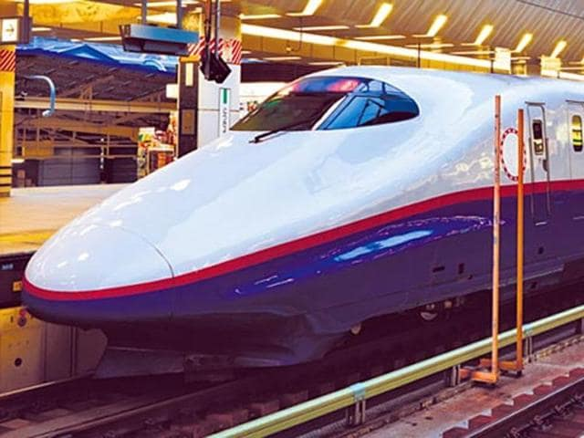 The high speed bullet train is expected to cover 508 km between Mumbai and Ahmedabad in about two hours, running at a maximum speed of 350 kmph.