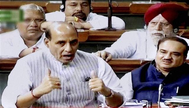 Home minister Rajnath Singh speaks in the Lok Sabha in New Delhi on Tuesday.
