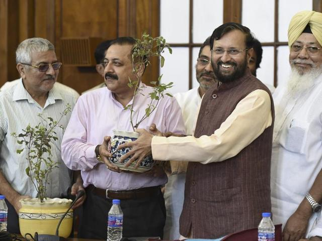 On the occasion of Guru Purnima, the HRD minister Prakash Javadekar felicitated Union minister Jitendra Singh as he honoured all MPs from academic background at Parliament House in New Delhi on Tuesday.