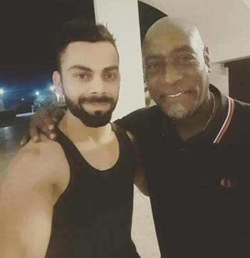 The members of Team India met the West Indian legend Sir Viv Richards at Antigua.