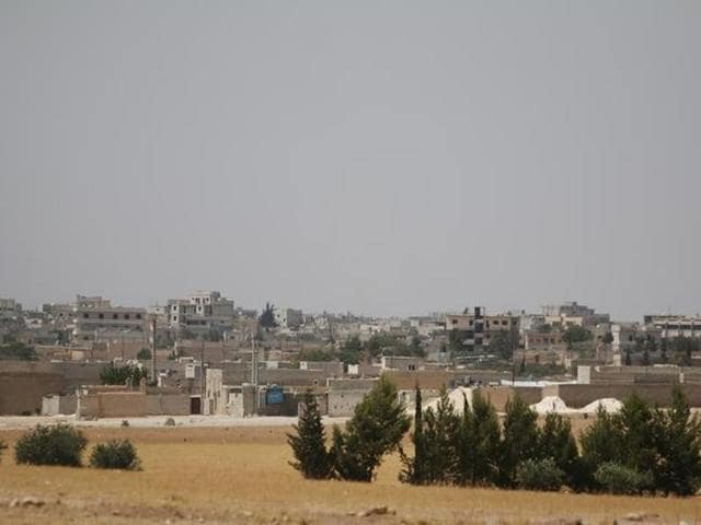 A general view shows the south eastern city of Manbij, in Aleppo Governorate.