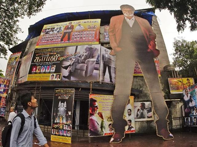 A Rajinikanth cut-out outside Aurora cinema, Matunga, Mumbai, on Thursday. His upcoming movie Kabali will release on Friday.