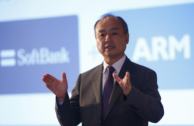 SoftBank Group CEO Masayoshi Son at a new conference in London, Britain on Monday.