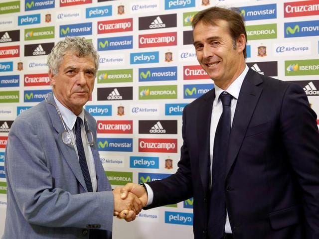 Spanish coach Julen Lopetegui speaks during a press conference following his appointment.