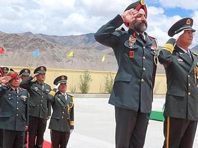 Military officials at the Sino-Indian Border Personnel Meet held for the first time in the Daulat Beg Oldie area in Ladakh in August last year. India had boosted its military presence along the Line of Actual Control with T-72 tanks in Ladakh. The deployment of soldiers has also increased. China has also been ramping up its military infrastructure in the area.
