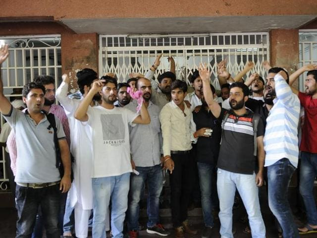Kashmiri students protest outside the V-C's office at Barkatullah University in Bhopal.