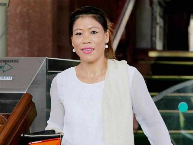 Nominated Rajya Sabha member and boxer Mary Kom at Parliament House on the opening day of the monsoon session in New Delhi.