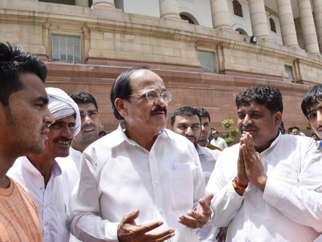 Union minister M Venkaiah Naidu outside Parliament during monsoon session in New Delhi.