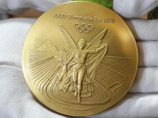 A Rio Olympics gold medal is displayed at the Olympic Park in Rio de Janeiro.