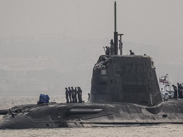 British nuclear Astute-class submarine HMS Ambush is seen docked in a port while being repaired after it was involved in a