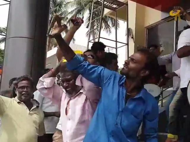 Fans celebrate with drums and much dancing.